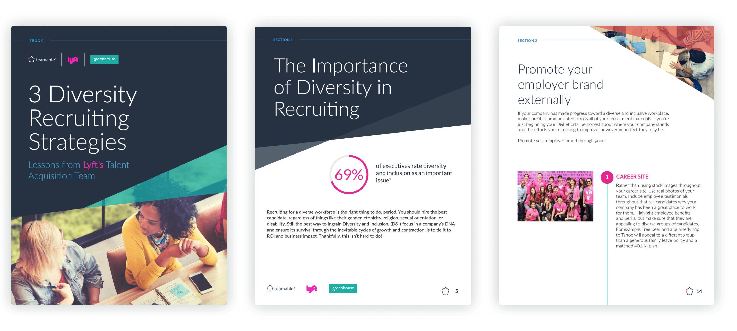 Sample pages of the 3 diversity recruiting strategies with Lyft eBook