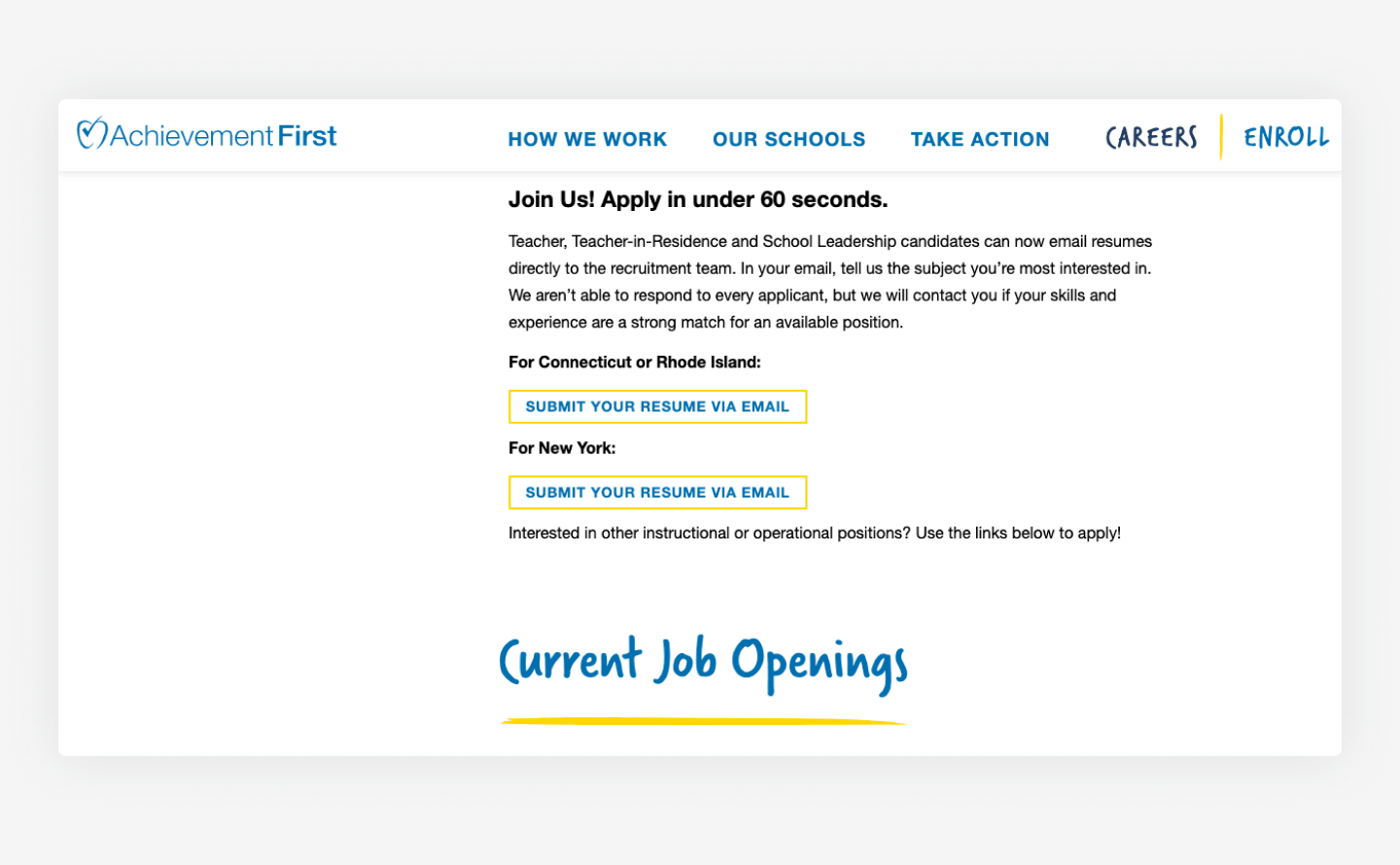 Achievement First website Career page example