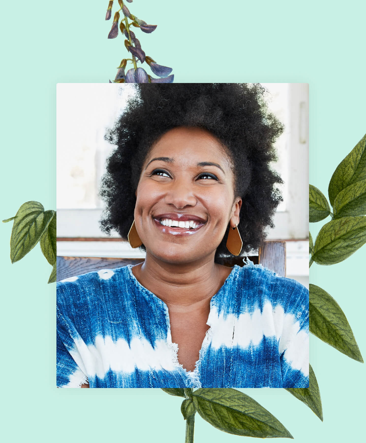 Botanical illustration behind a photo of smiling black woman