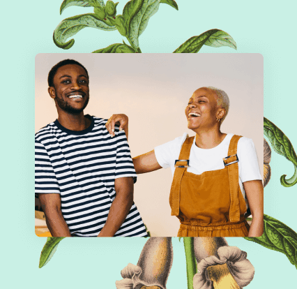 Botanical illustration behind black man and woman hand on his shoulder