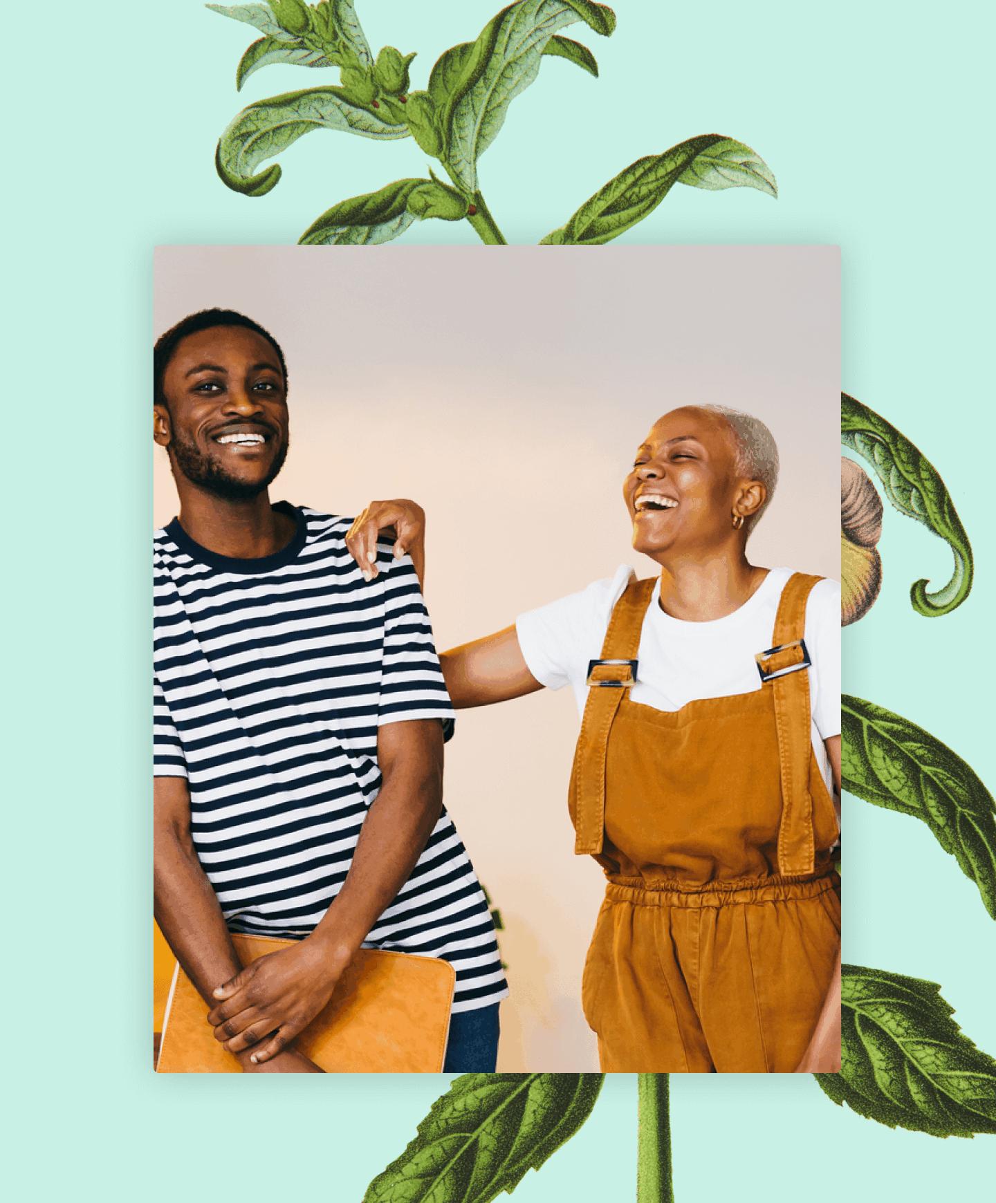 Botanical illustration behind black man and woman hand on his shoulder