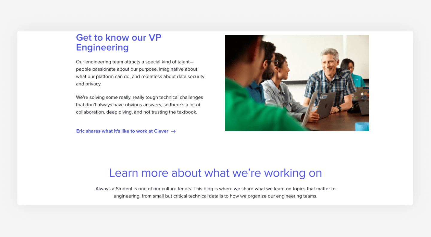 Clever's website career page example with employees