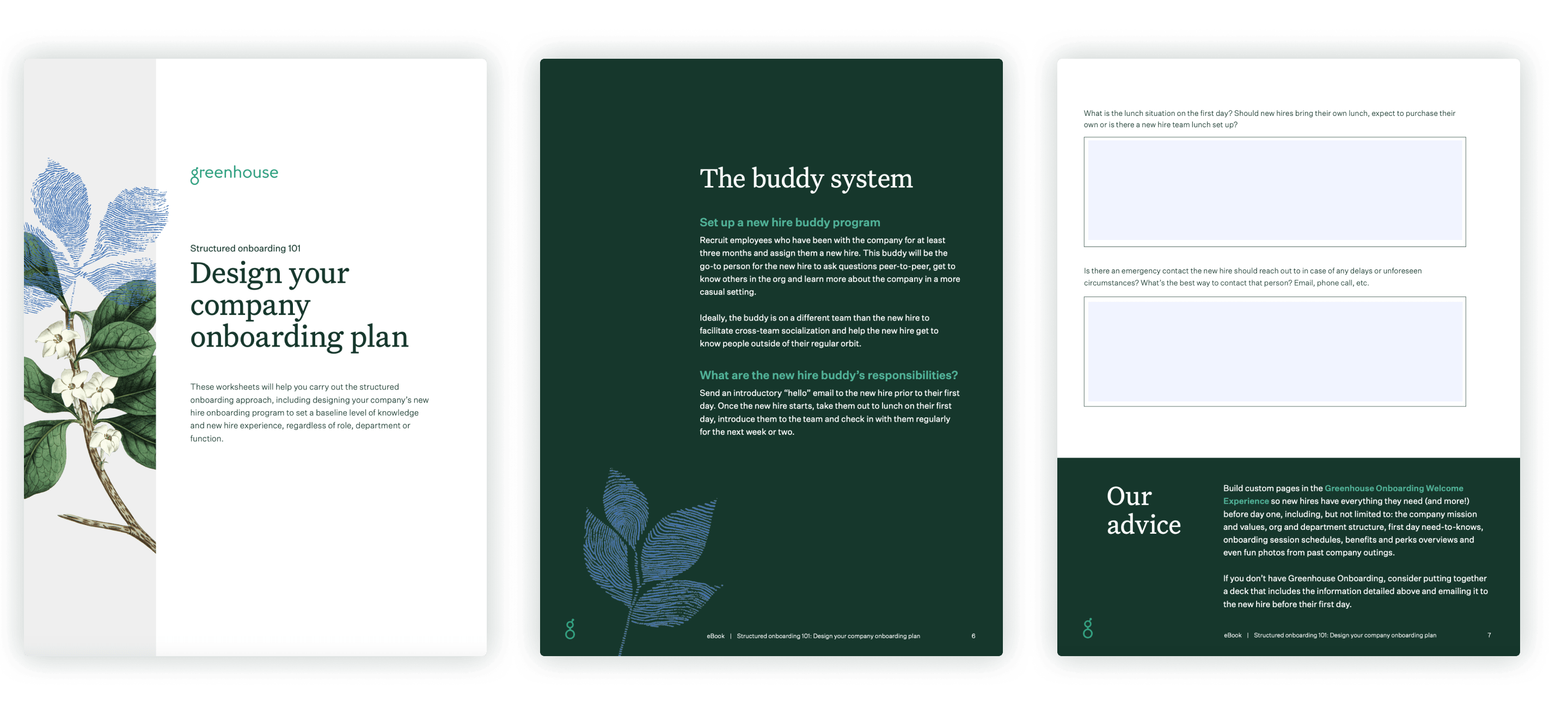 Sample pages of the design your company onboarding plan eBook