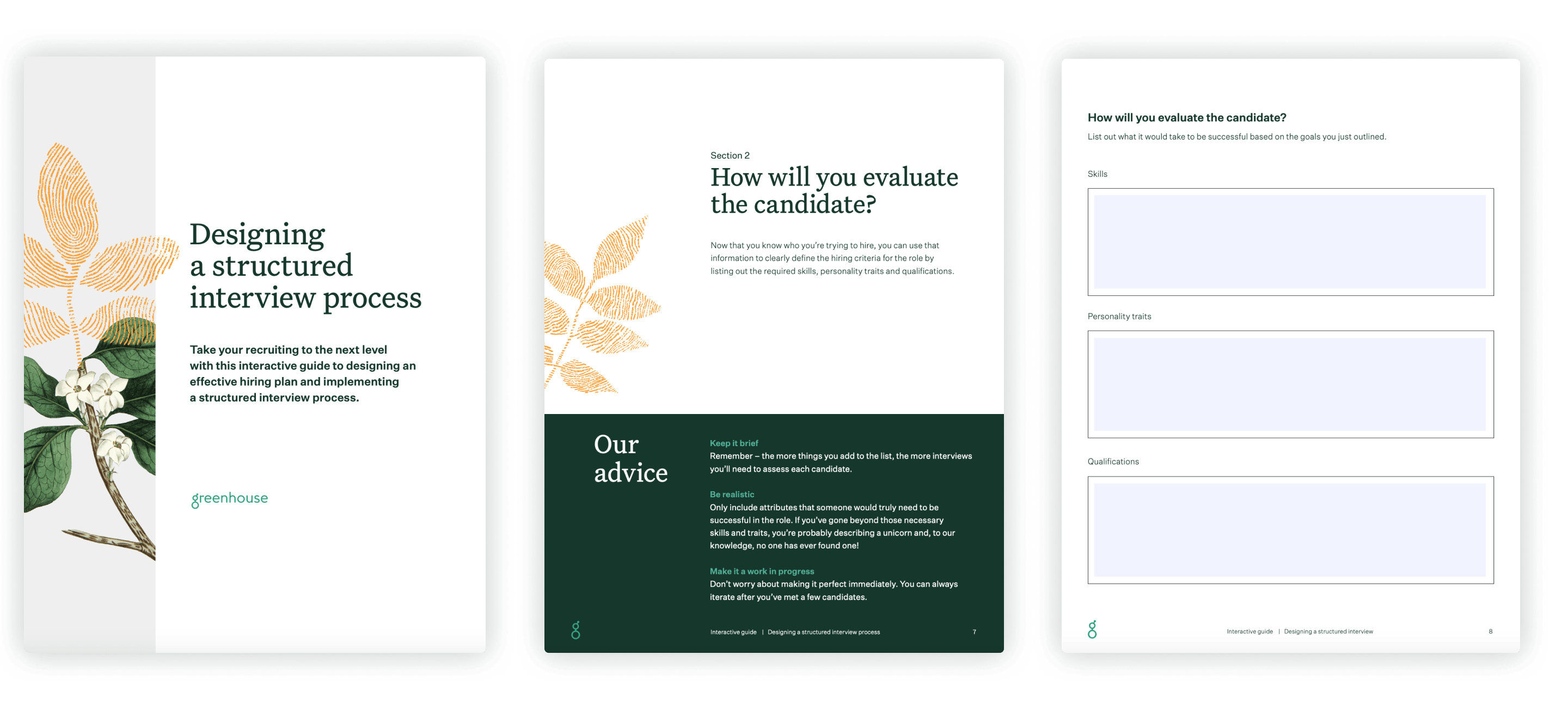 Sample pages of designing a structured interview process workbook
