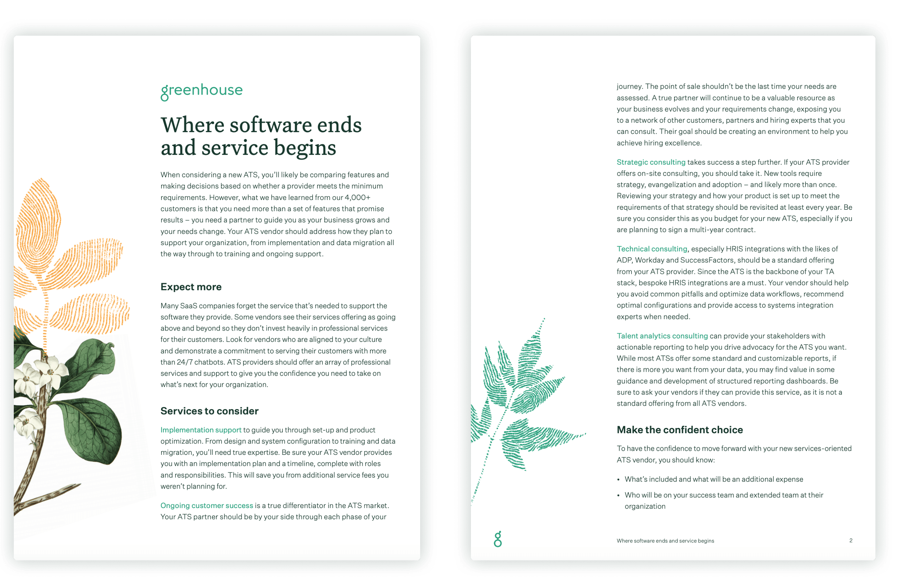 Sample pages of the Greenhouse professional services guide