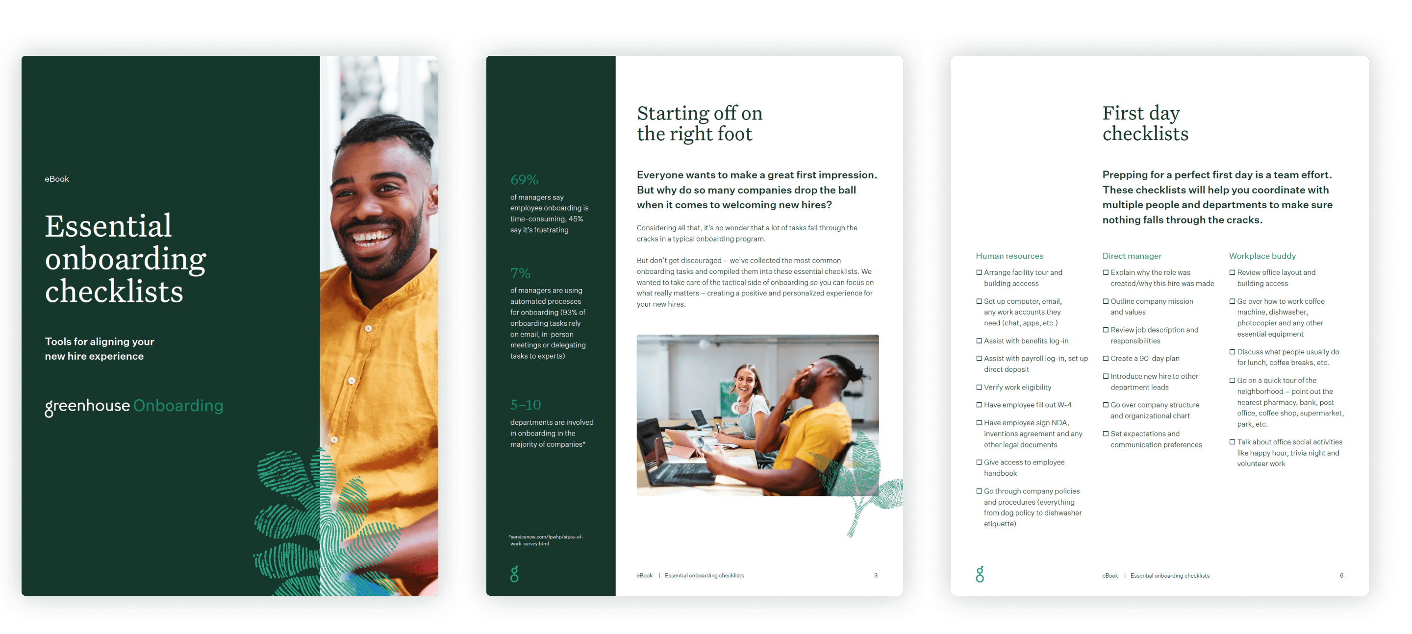 Sample pages of the Essential Onboarding Checklist eBook