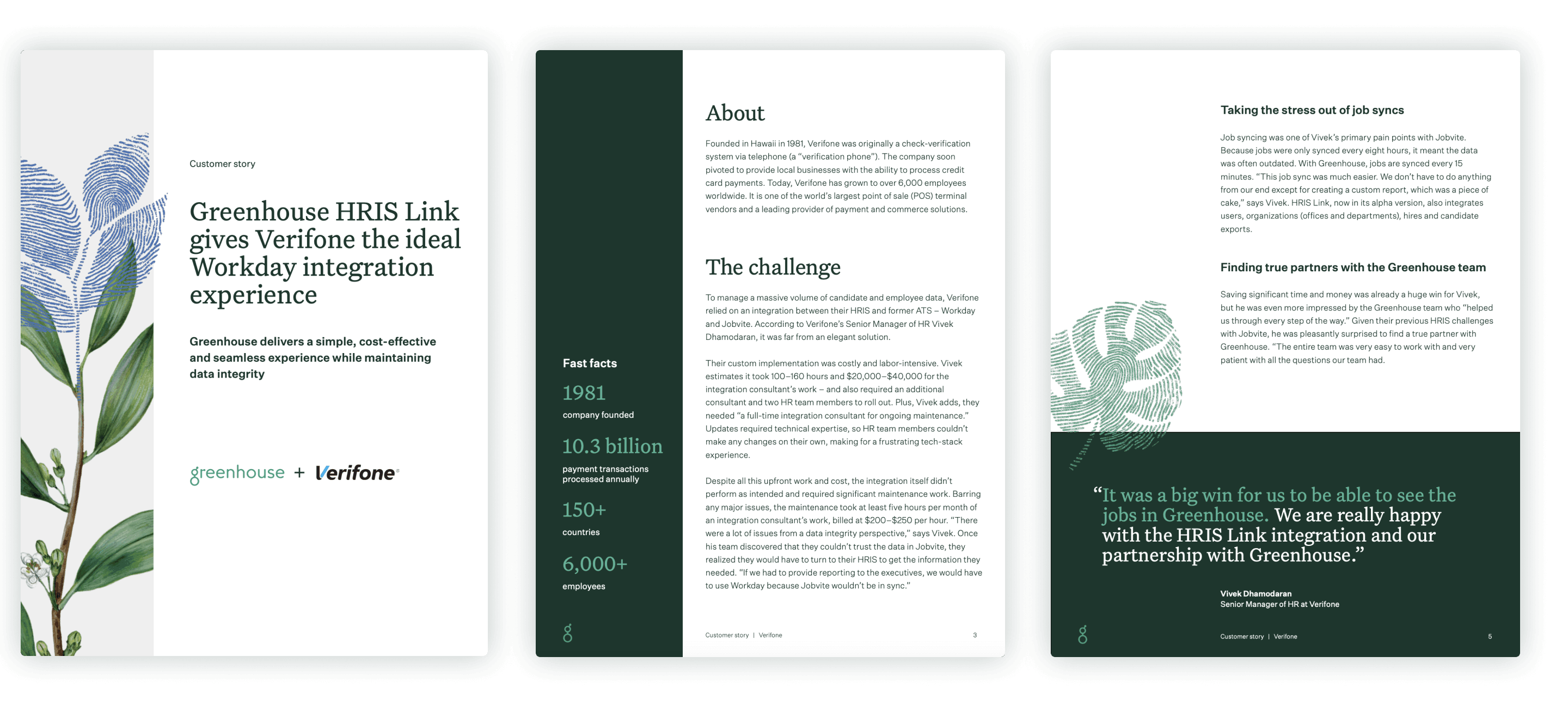 Example pages of Greenhouse's Verifone customer story