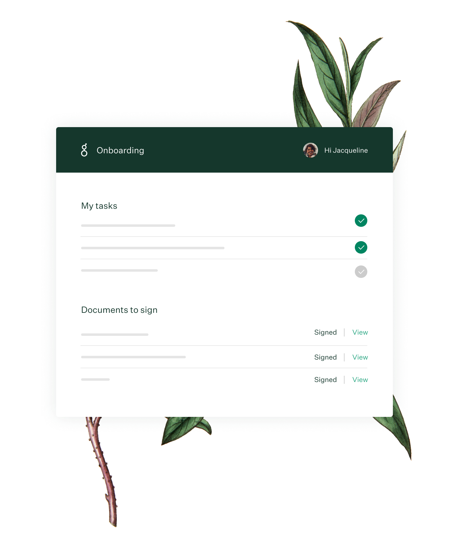Greenhouse Onboarding dashboard