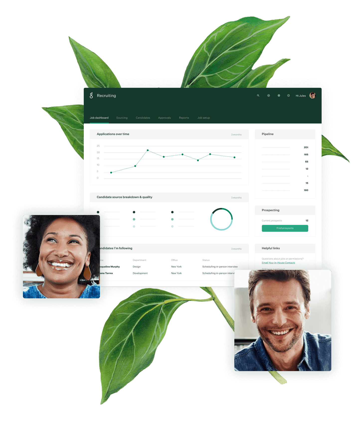 Greenhouse Recruiting dashboard with photos of two people and a botanical illustration