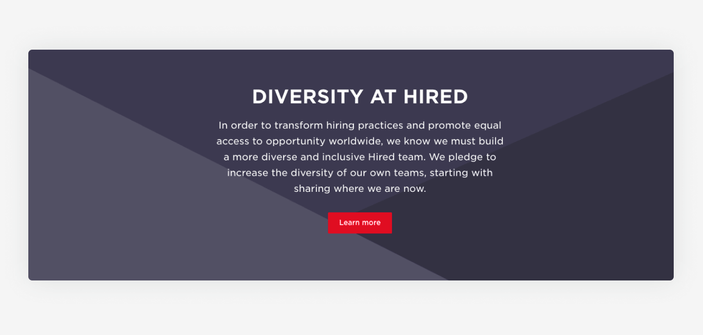 Hired's website career page example