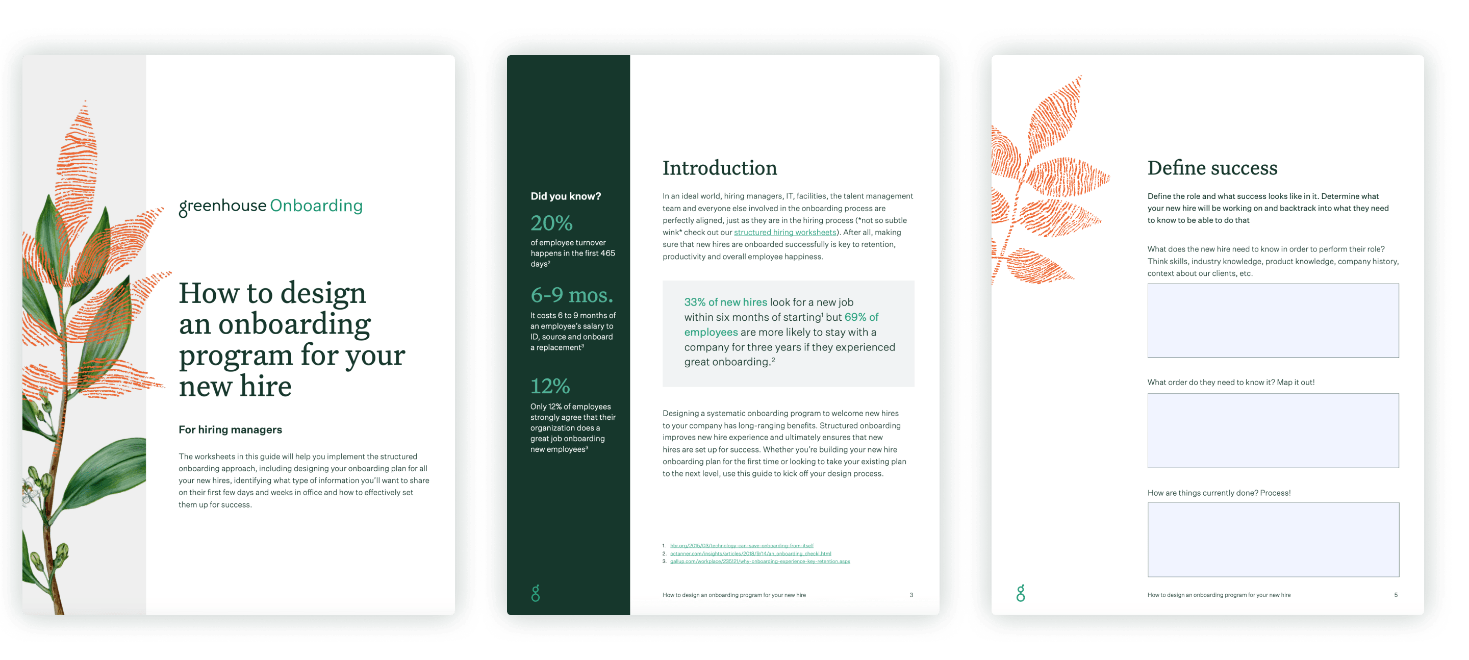Sample pages of how to design an onboarding program for your new hire worksheet
