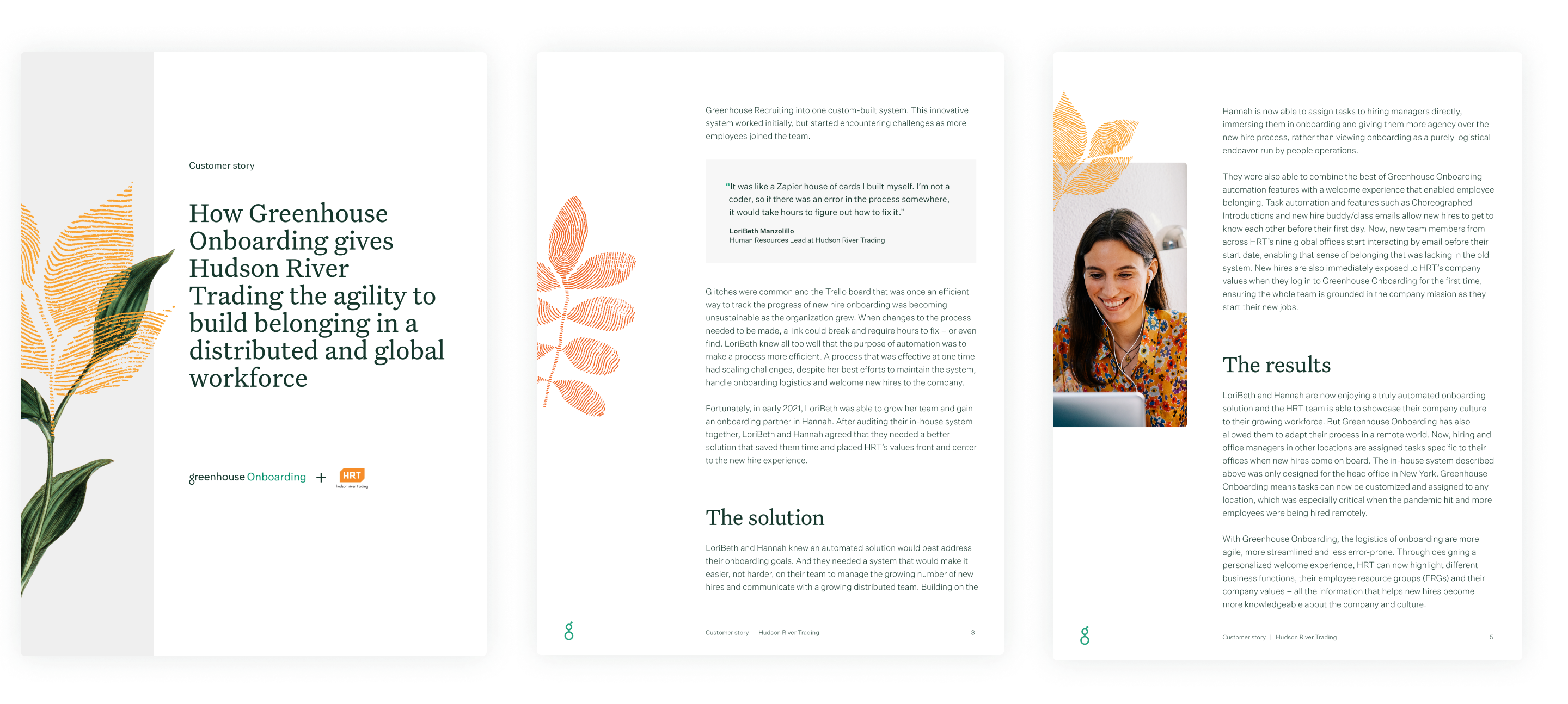 Hudson River Trading customer story sample pages
