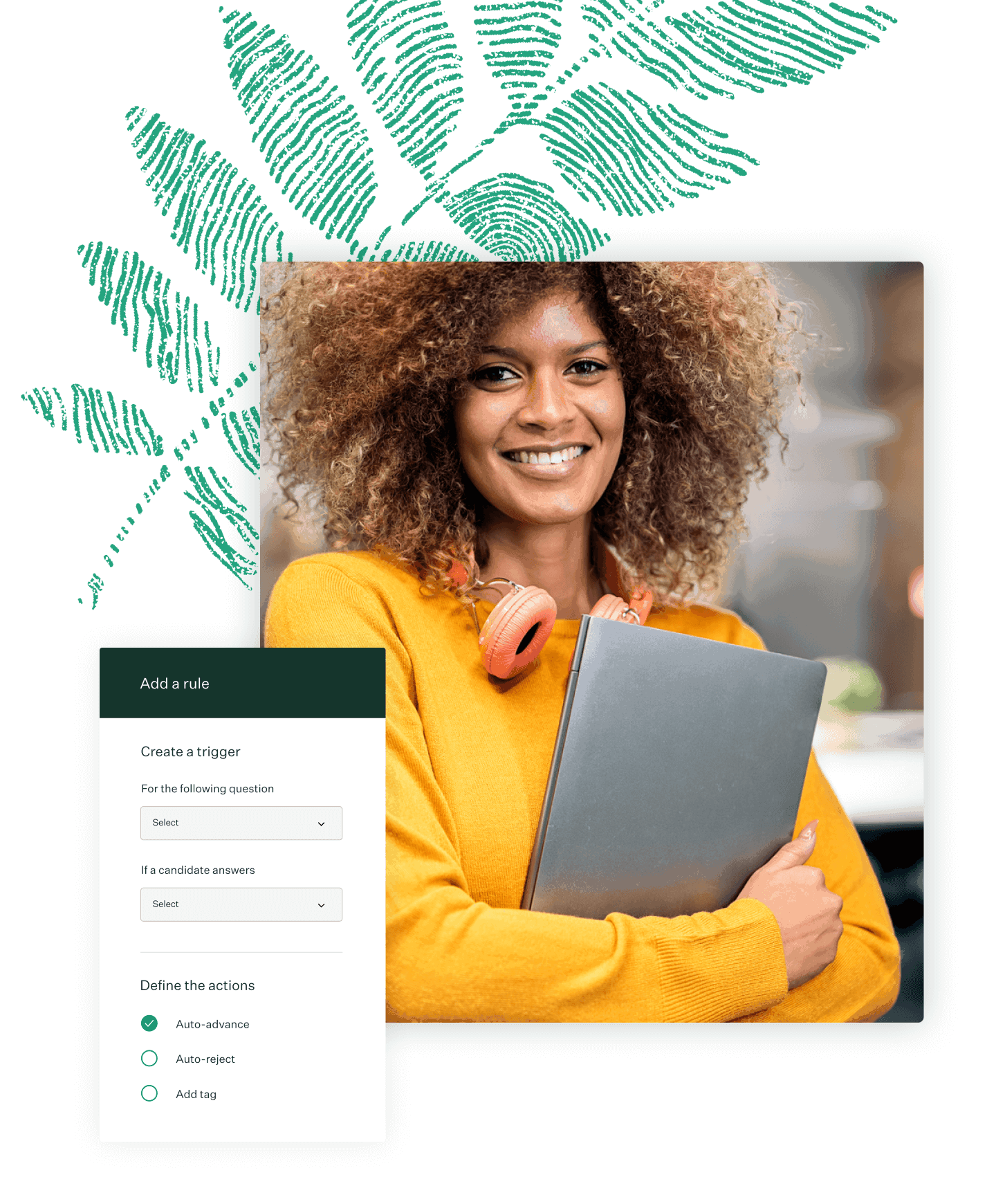 Image with Greenhouse product UI and a photo of a woman holding a laptop