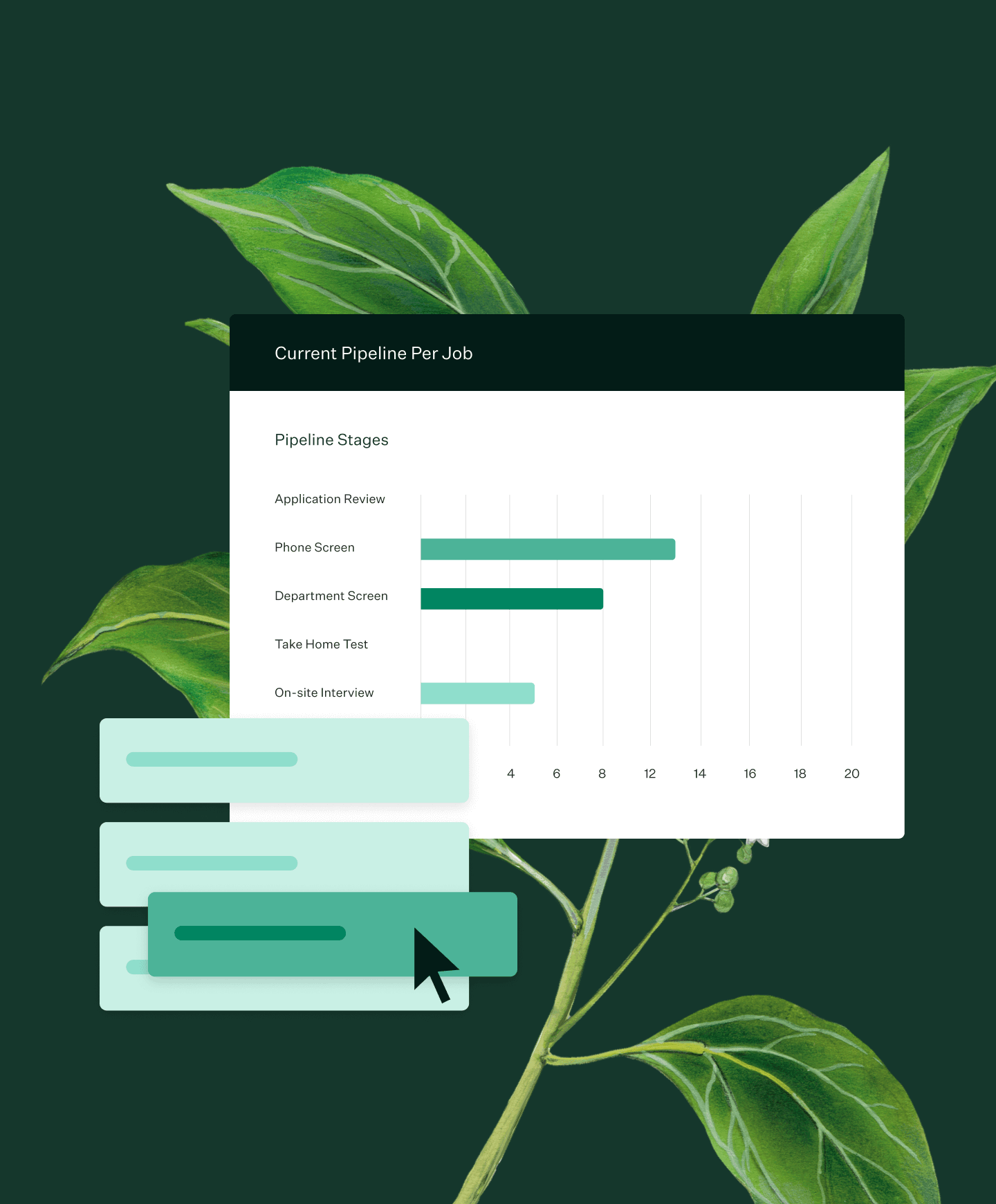 Images of Greenhouse Recruiting reporting features and a plant illustration