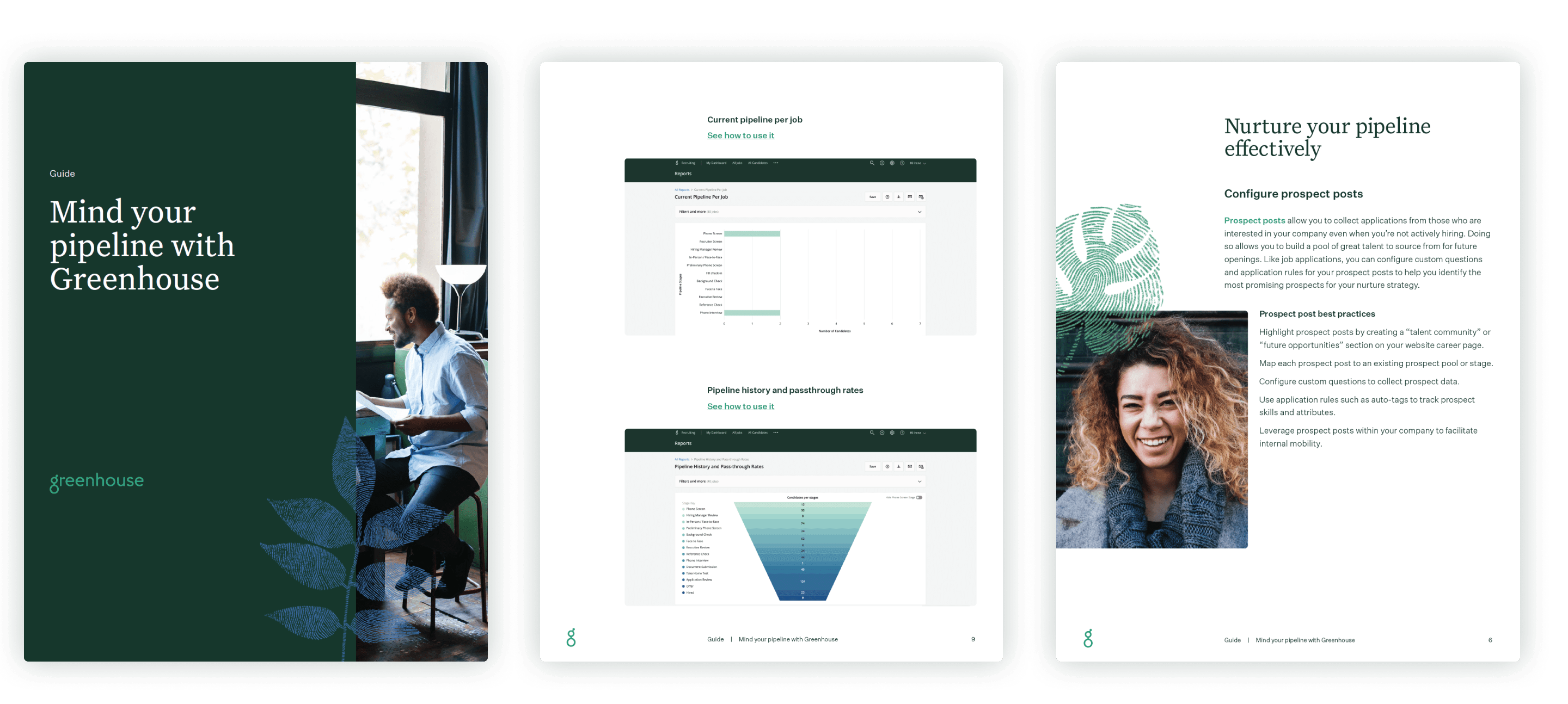 Sample pages of the mind your pipeline with Greenhouse guide