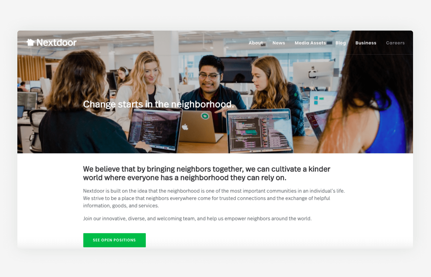 Nextdoor's website career page example