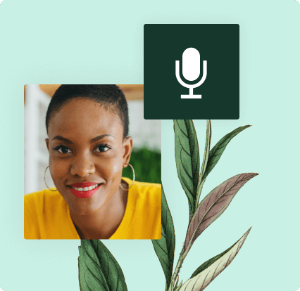 Photo of a woman and microphone icon with botanical illustration