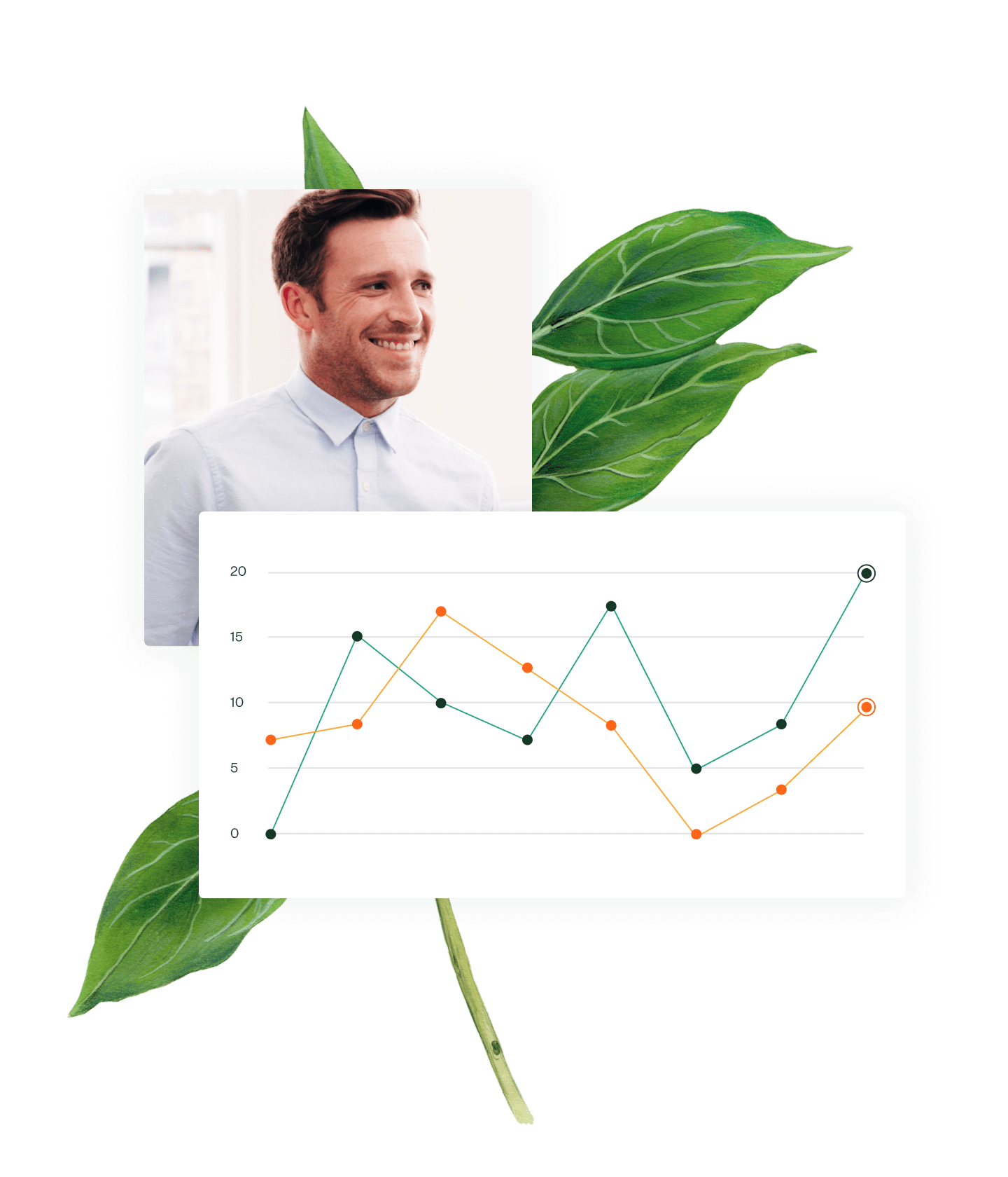 Photo of man and image of line graph