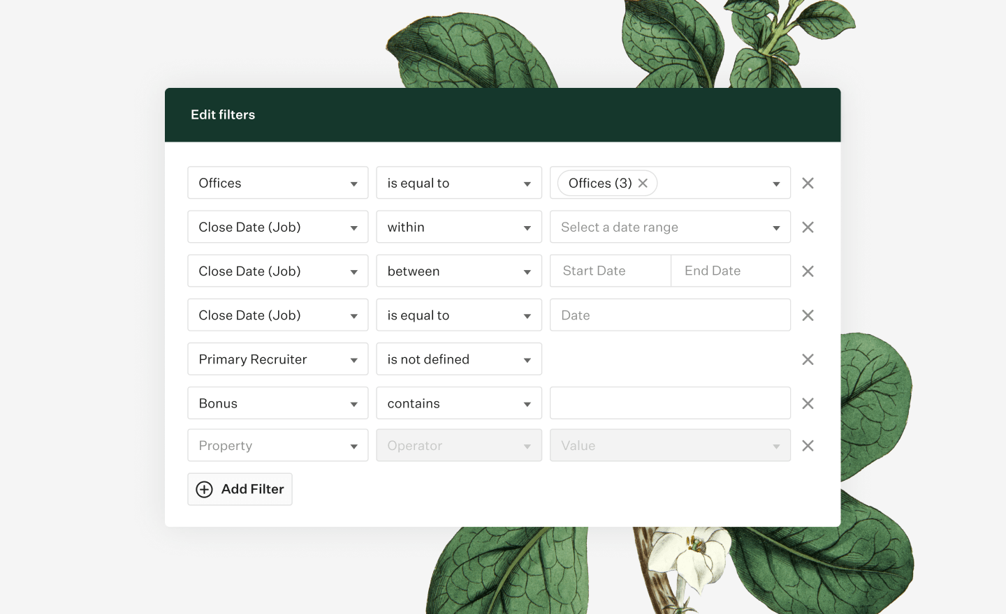 Greenhouse Report builder filters