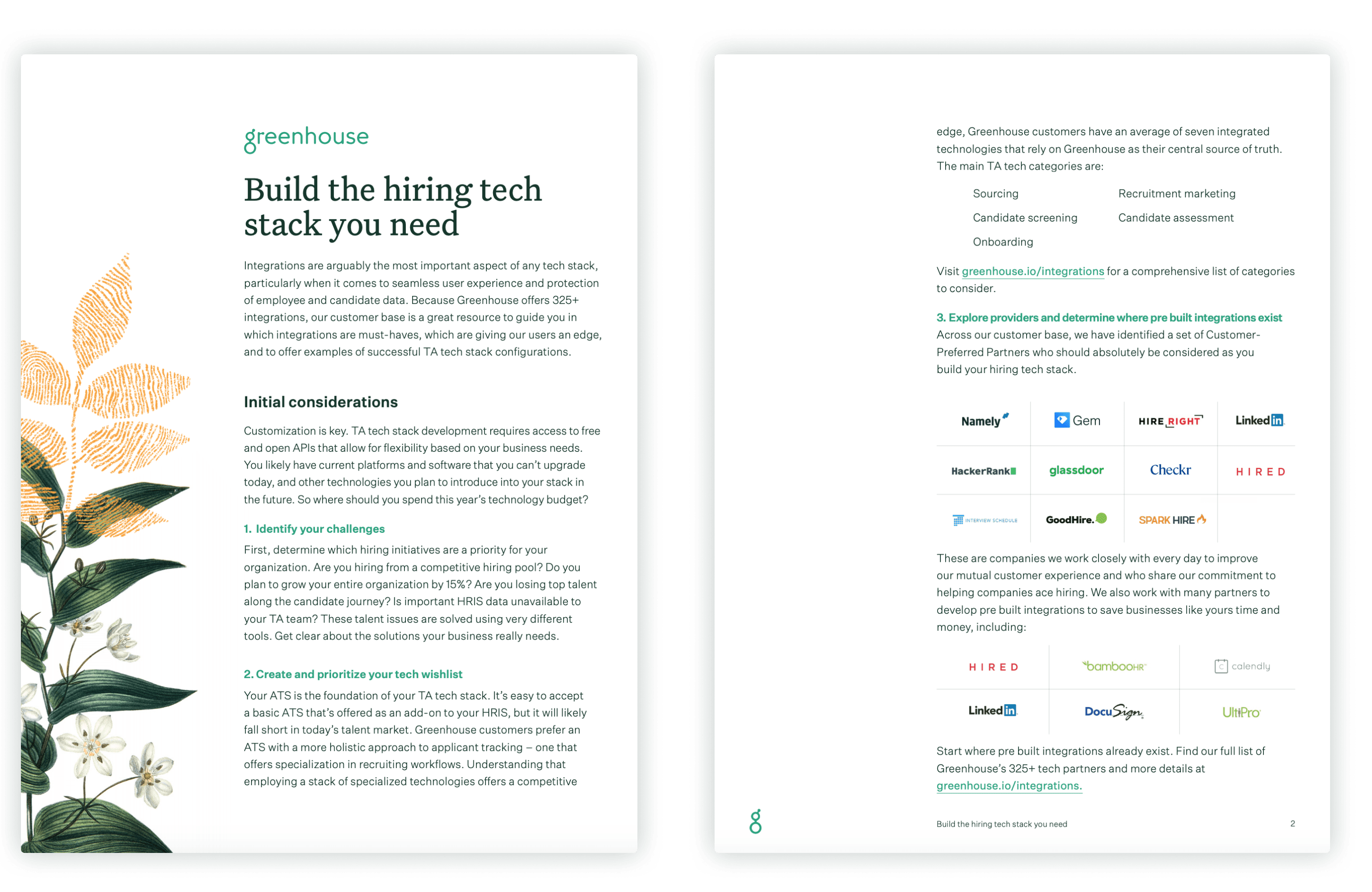 Sample pages of the Greenhouse seamless integrations and tech stack guide