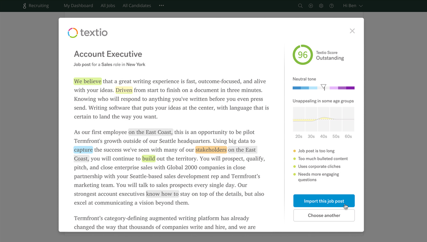 Sample image of Greenhouse and Textio's ATS integration