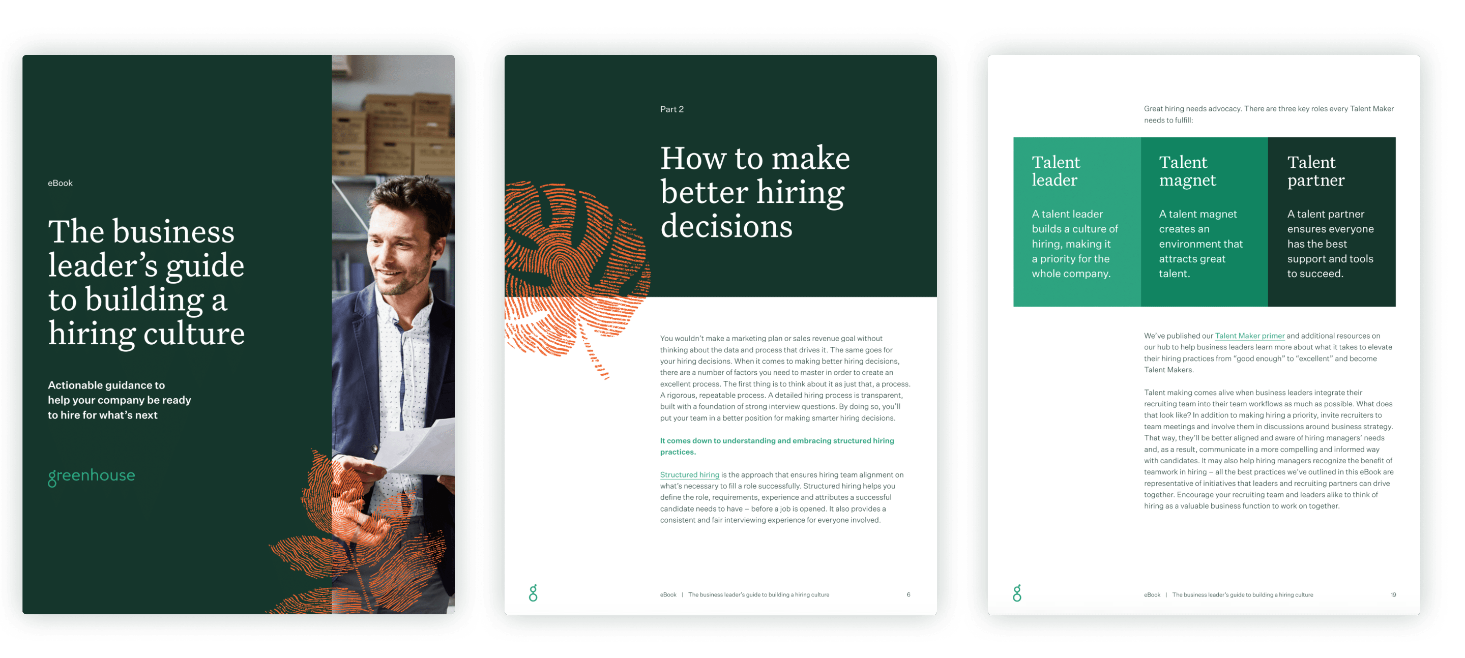 Sample pages of the business leader's guide to building a hiring culture eBook