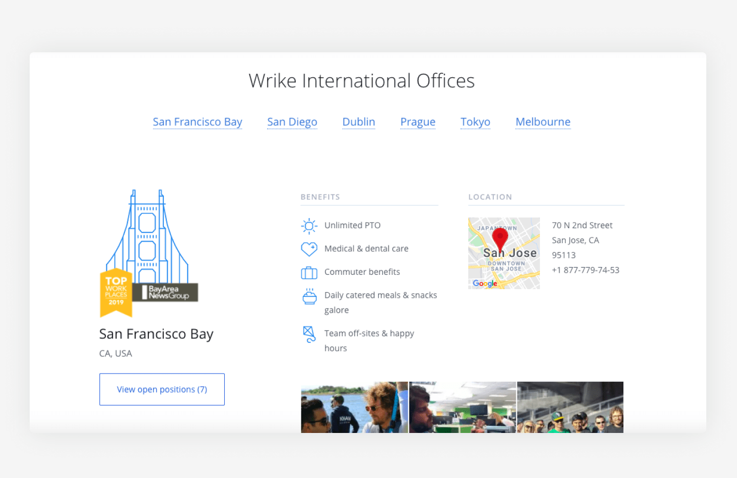 Wrike's website career page example of their office locations