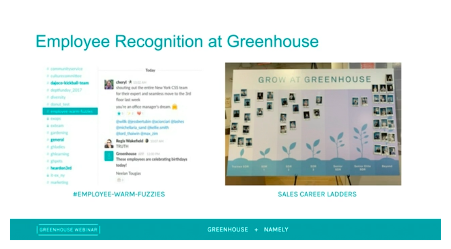 Employee recognition at Greenhouse sample slide