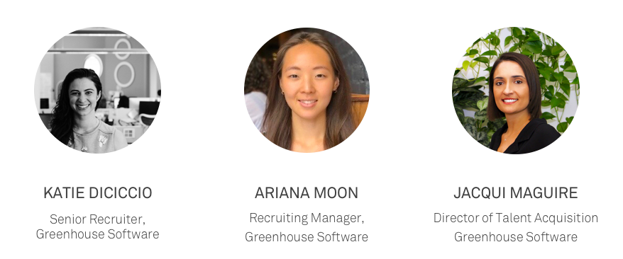 Three women employees from the Greenhouse Recruiting team