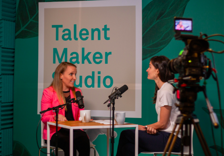 Two business leaders speaking at the Talent Makers Studio podcast
