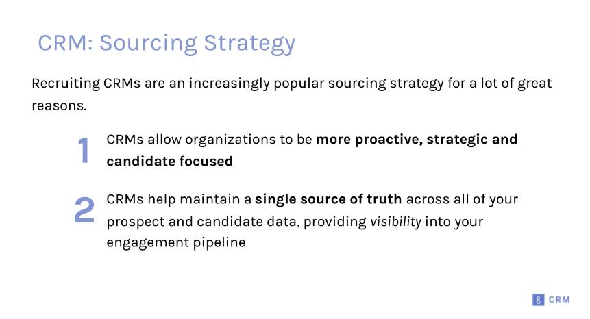 CRM webinar sourcing strategy presentation slide