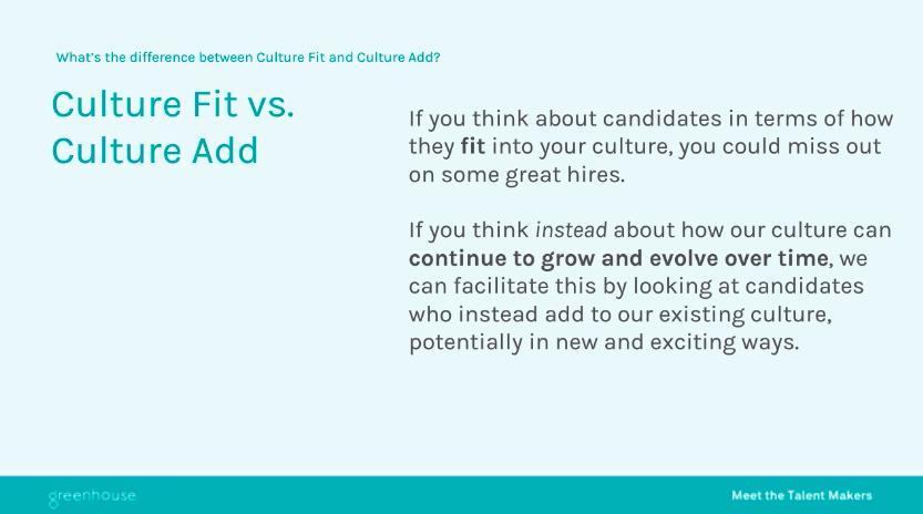 Sample slide on culture fit vs. culture add