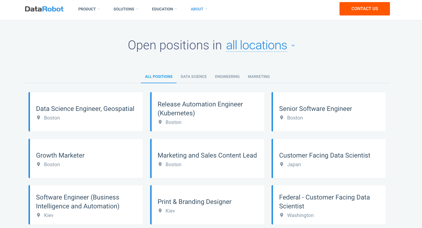 datarobot career page
