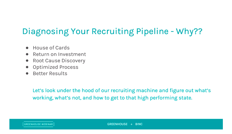 Greenhouse and Binc presentation slide of diagnosing your recruiting pipeline