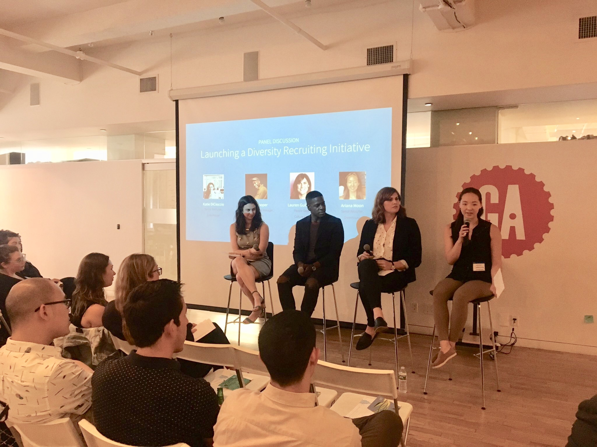 Four speakers from the Launching a Diversity Recruiting Initiative panel