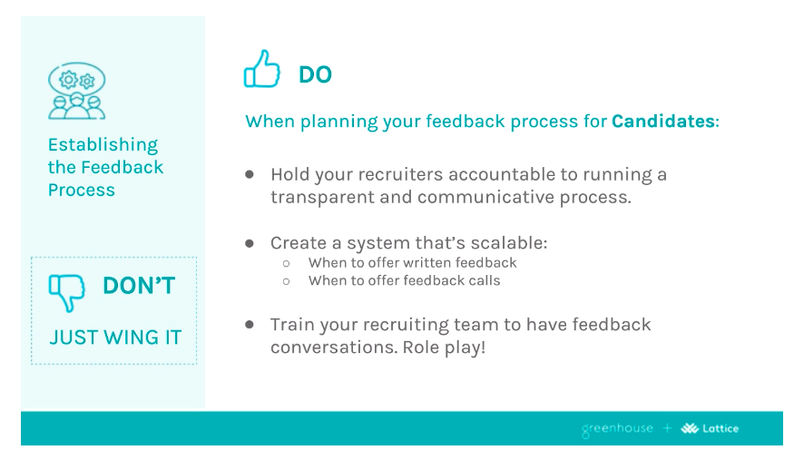 Sample slide from the Speakers from the do's and don'ts of delivering feedback to candidates and employees presentation