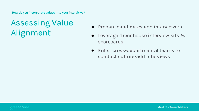Sample slide on assessing value and alignment