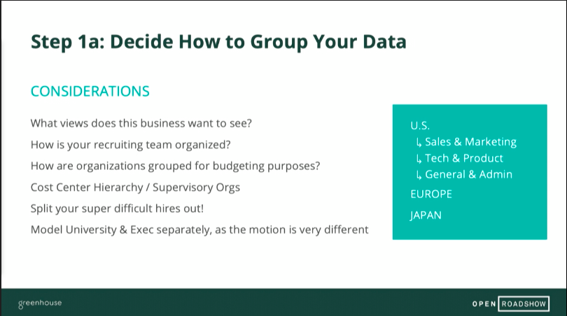 Sample slide of decide how to group you data