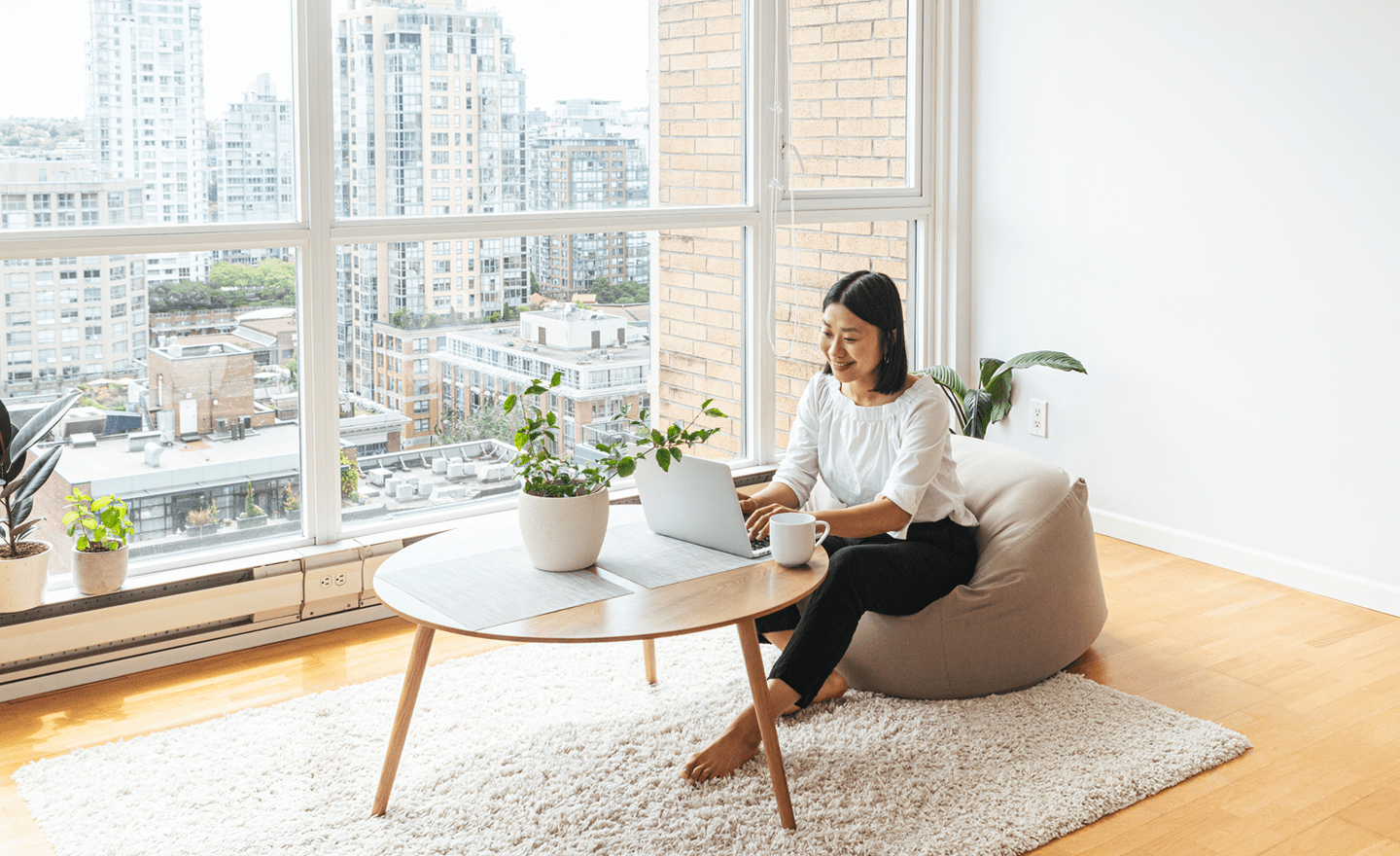Productive hiring manager working from apartment