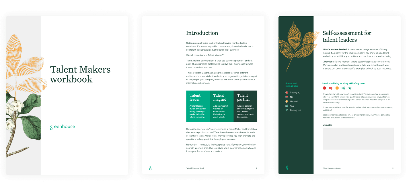 Example pages of the Talent Makers workbook