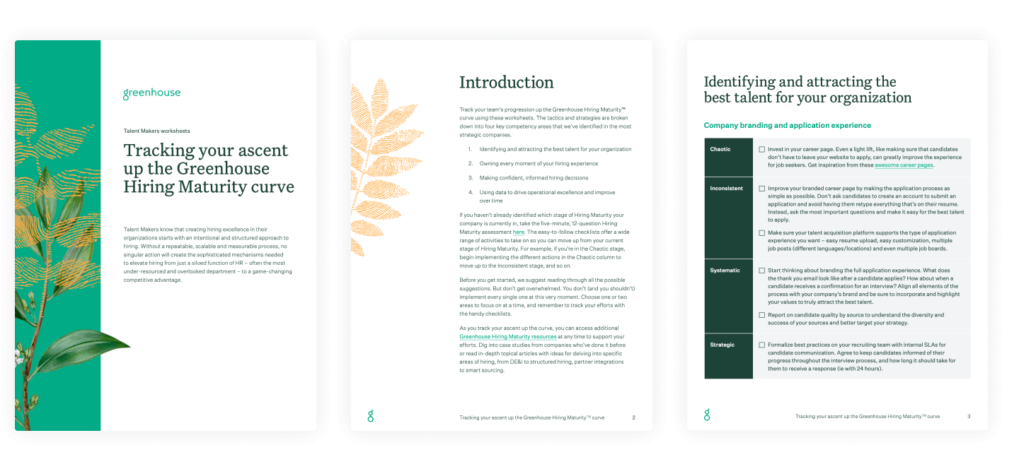 Sample pages of the Talent Makers worksheet