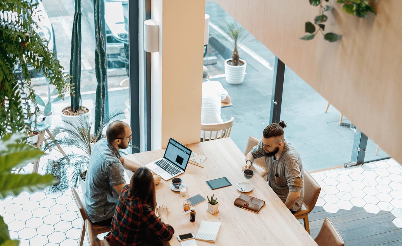 Team meeting in coworking space 1
