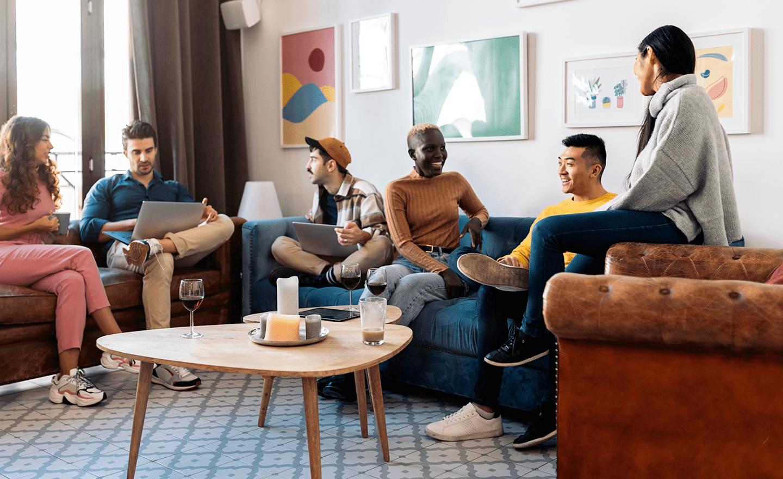 Team meeting in coworking space
